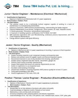 Dana TM4 India Pvt. Ltd Recruitment Supervisor & Junior/ Senior Engineers  For Production, Quality and Maintenance Department