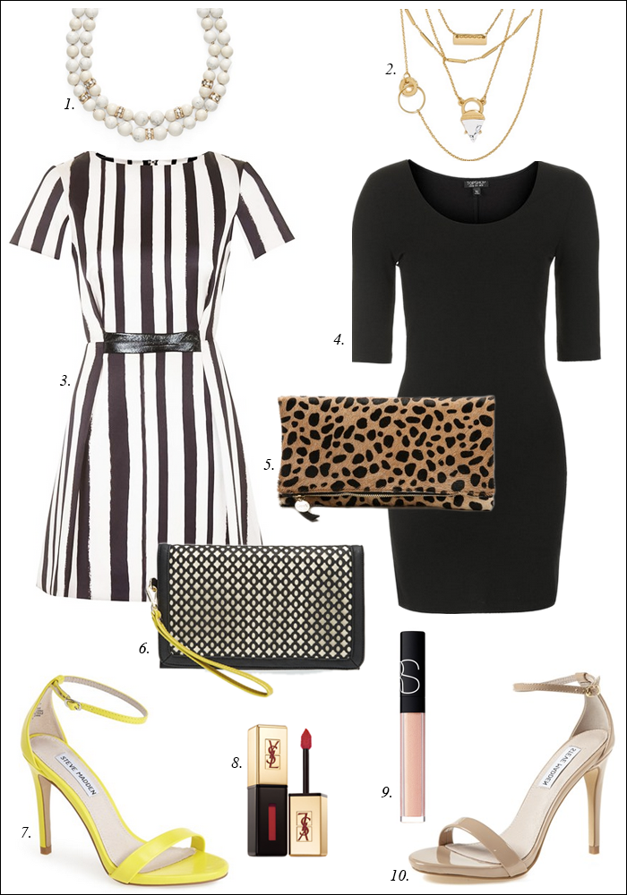 leopard clare v clutch, baublebar layered necklace, striped dress, topshop, summer dress