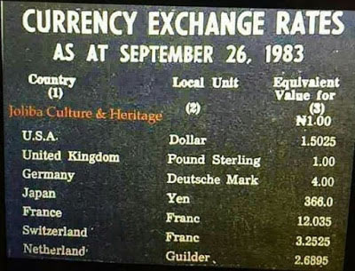 Check out Naira exchange rates against, dollars, pounds, etc in 1983