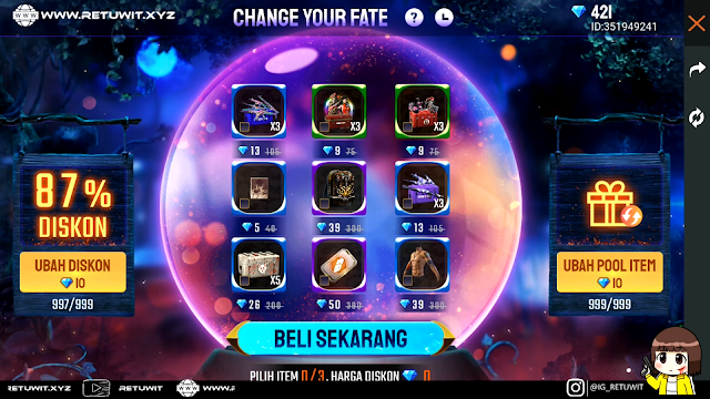 Borong Diskon 90% di Event Change Your Fate Free Fire