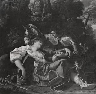 incisione (da Sisto Badalocchio, sec. XVII): part. del battesimo di Clorinda