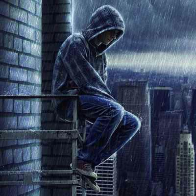 boy in rain alone boy rain photo