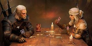 Geralt et Ciri jouant au Gwent (devenu jeu à part entière)