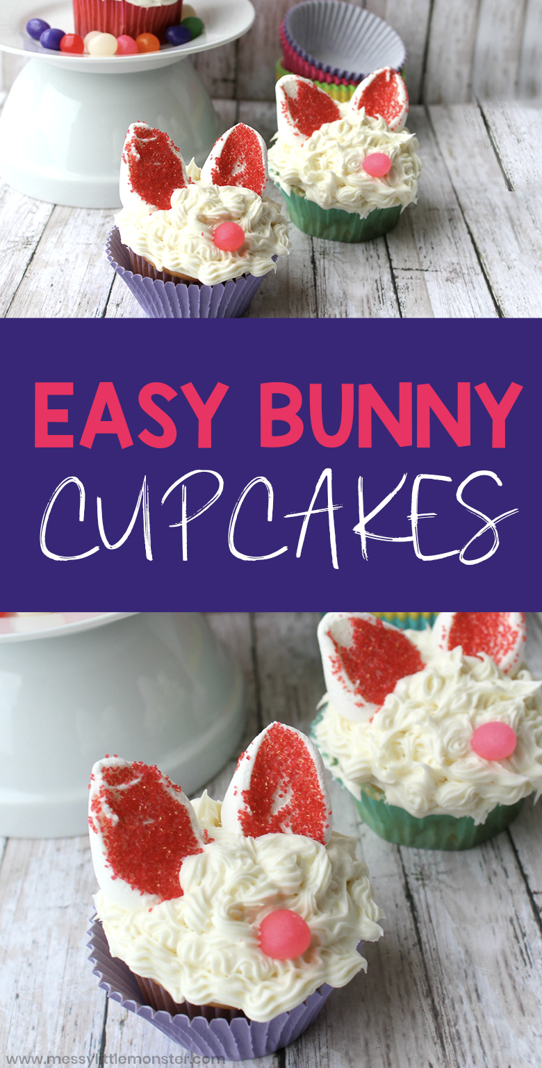 Easter bunny cupcakes. Easy Easter cupcakes for kids to make. Easter bunny cake recipe.
