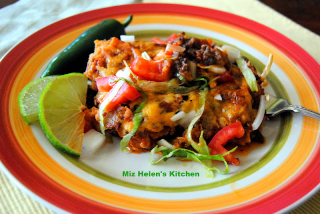 Stacked Enchilada Casserole at Miz Helen's Country Cottage