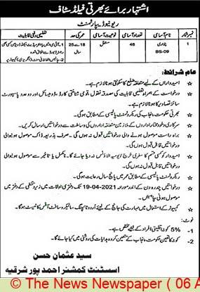 Revenue Department Ahmad Pur Sharqiya Jobs 2021
