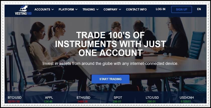 Мошеннический сайт vesting100.com – Отзывы, развод! Компания Vesting 100 мошенники