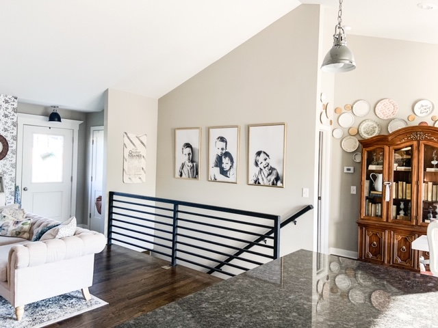 black and white stair way decor