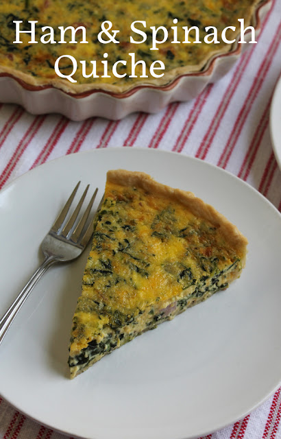 Food Lust People Love: his ham and spinach quiche is a lovely dish for brunch, lunch or dinner, with cubes of leftover ham, spinach and loads of extra sharp cheddar cheese.