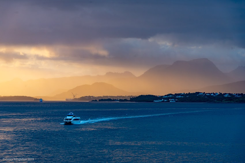 Norway cruise dramatic sunset with boat and mountains, August 2018 photo by Corey Templeton.