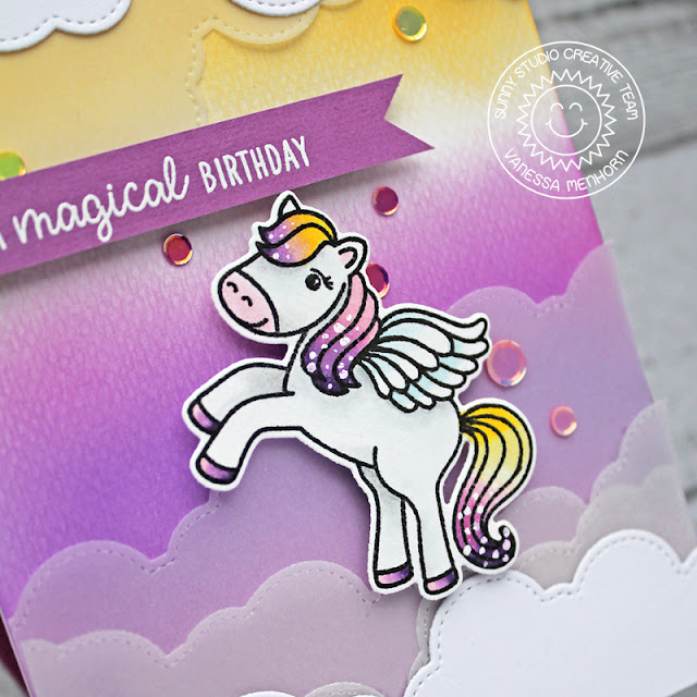 Sunny Studio Stamps: Prancing Pegasus Fluffy Clouds Border Dies Magical Pegasus Birthday Card by Vanessa Menhorn