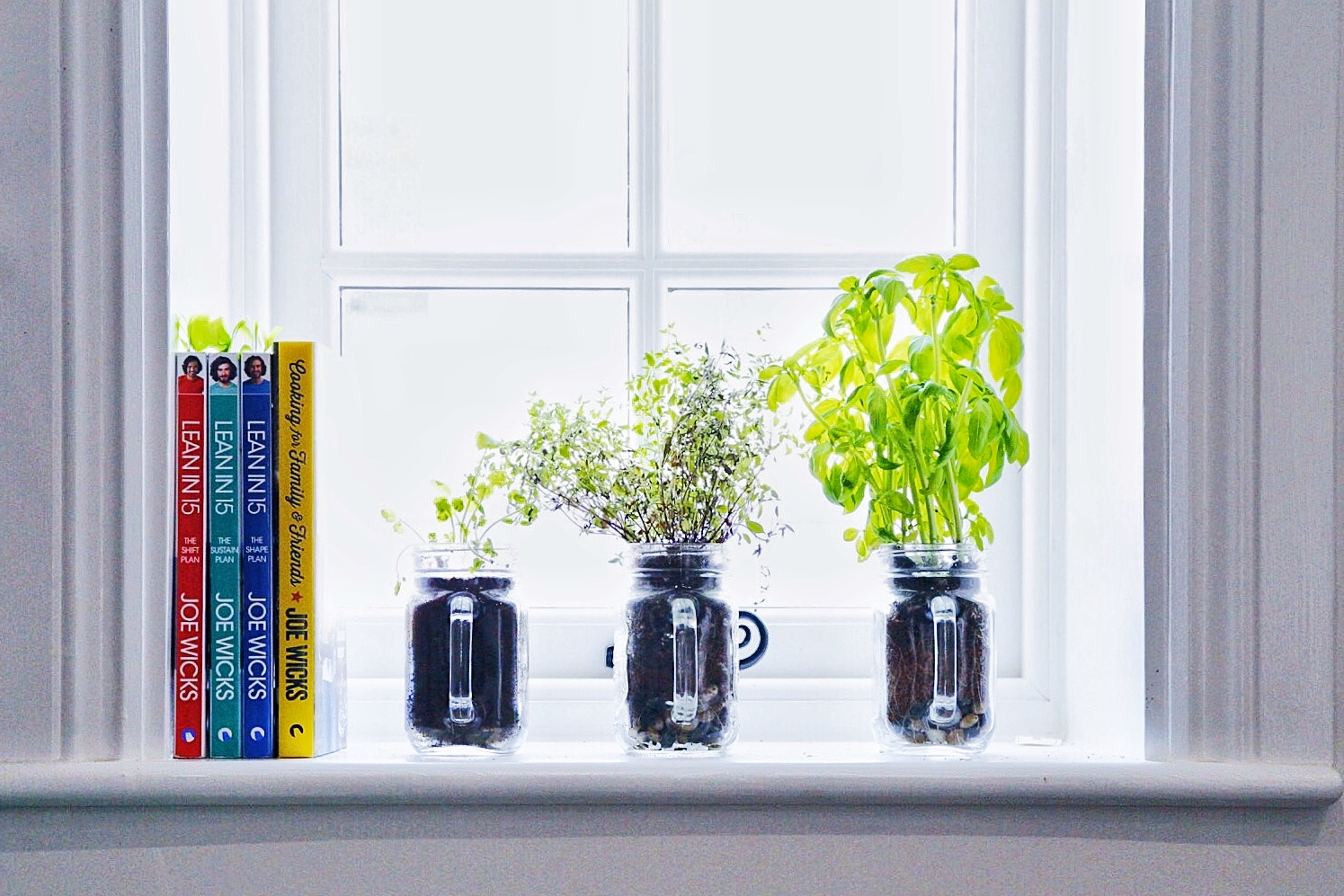 Lean in 15 Cookbooks on window ledge with herbs in mason jars