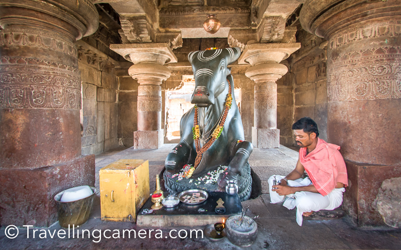 Here is a photograph of Monolithic Nandi at Pattadakal Temples, Karantaka. If you intend to visit this temple, you need to take of your shoes. Golden Chariot staff provides you socks, but it's manageable without those socks as well :). Personally I prefer walking on bare feet.