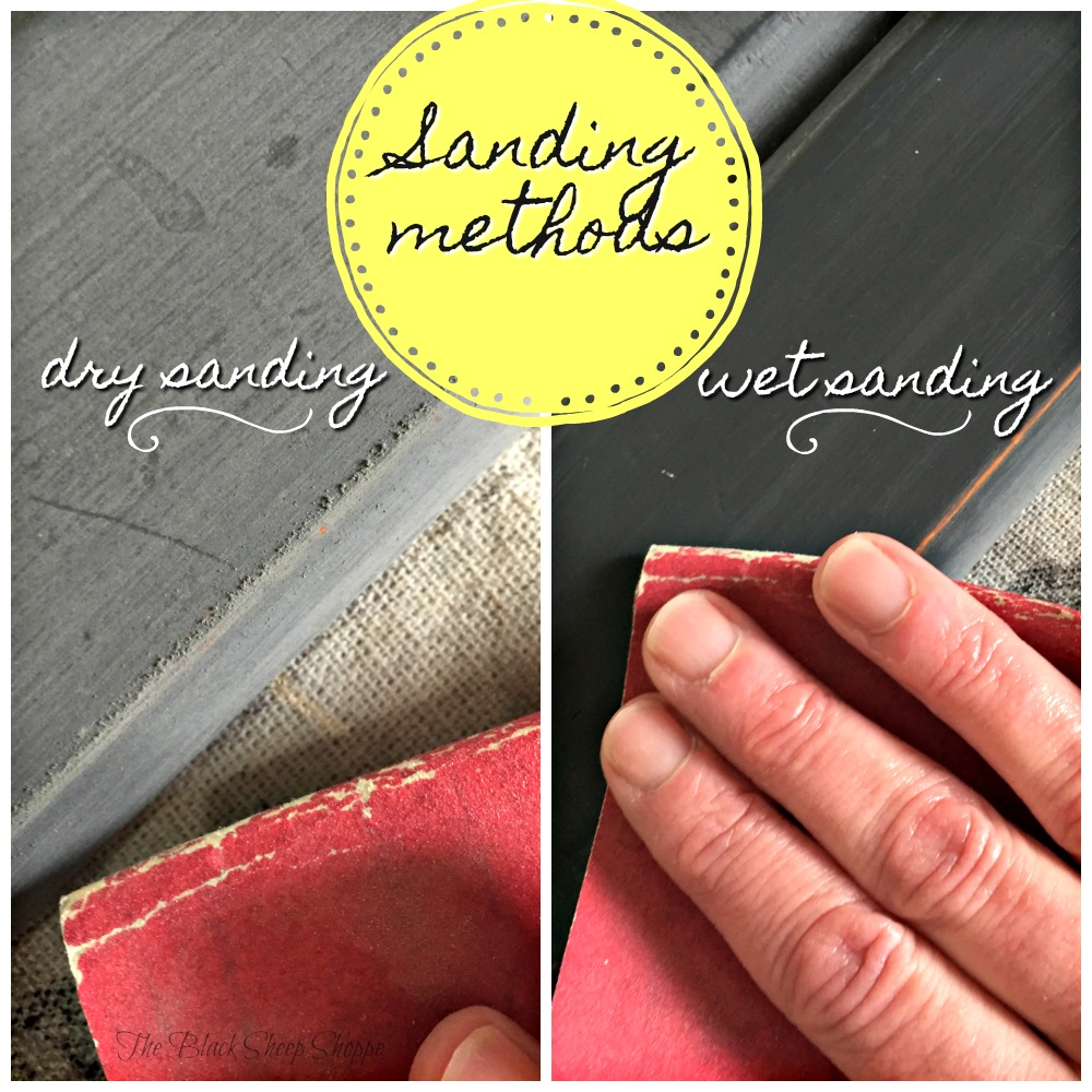 You can see with dry sanding even the lightest touch creates sanding dust. The wet sanding method is more suitable for indoor projects.