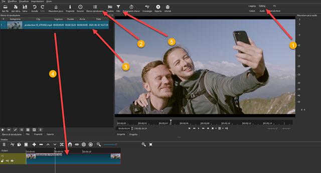 creare timeline video shotcut