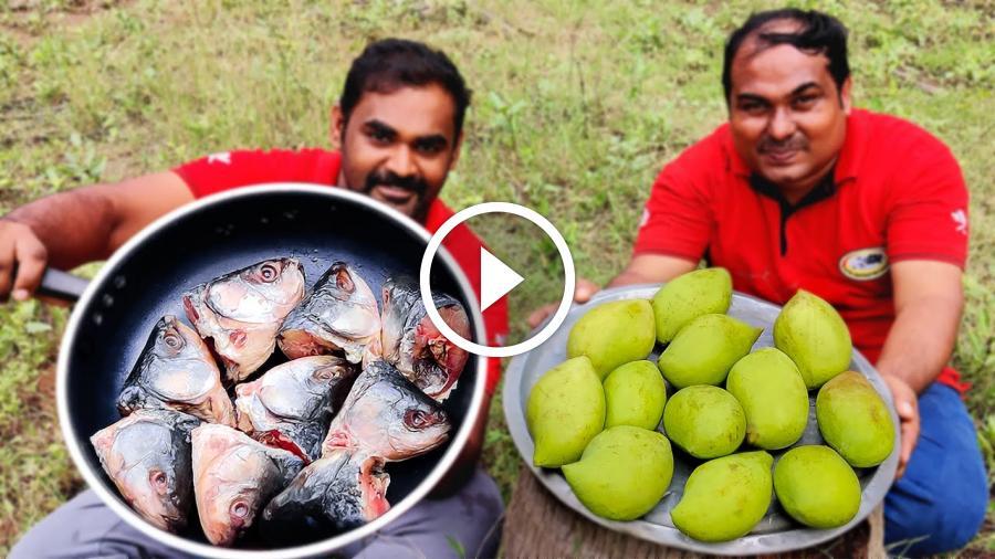Goan Mango Fish Head Curry | Fish Curry Recipe Village Style Cooking | World Food Tube