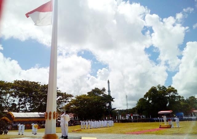 Khidmat, Detik-Detik Proklamasi Dan Pengibaran Bendera HUT RI Ke 74 Di Kabupaten Kepulauan Selayar
