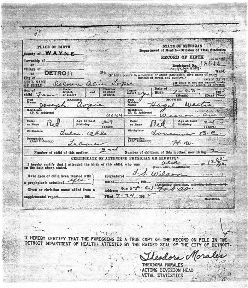 Dolores santha aka grandma coyote fakeindians how far is she willing to go to lie and to make her story real i submit a copy of what she has claimed her is her birth certificate 1betcityfo Images
