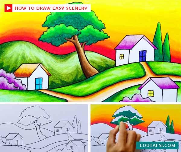 Cara Menggambar Pemandangan Desa Di Atas Bukit Yang Mudah