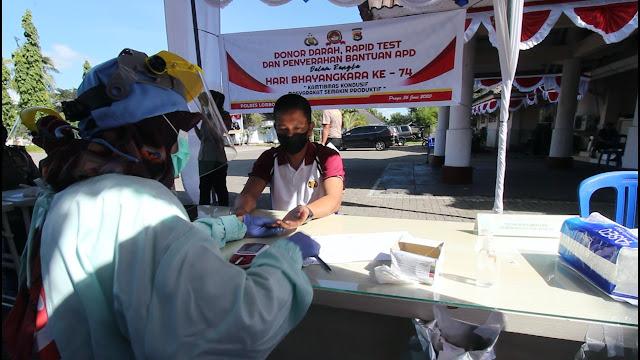 Sambut Hari Bhayangkara Ke 74, Polres Lombok Tengah Gelar Donor Darah dan Baksos.