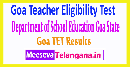 Goa Teacher Eligibility Test GTET Results 2017