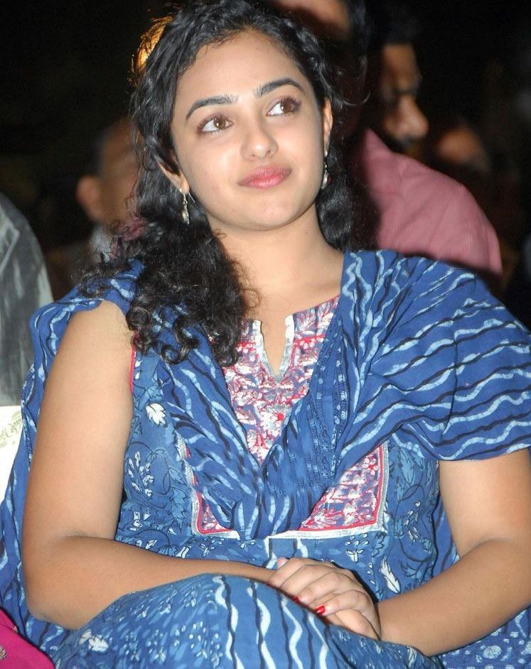 Actress Nithya Menon Hot In Blue Chudithar Latest Photos