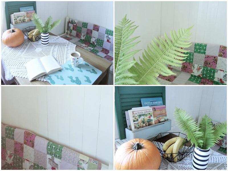 biały kącik jadalny z kropą zielonego, kolorowy patchwork, malowane kaktusy