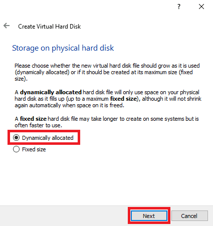 MikroTik di VirtualBox Dynamically allocated