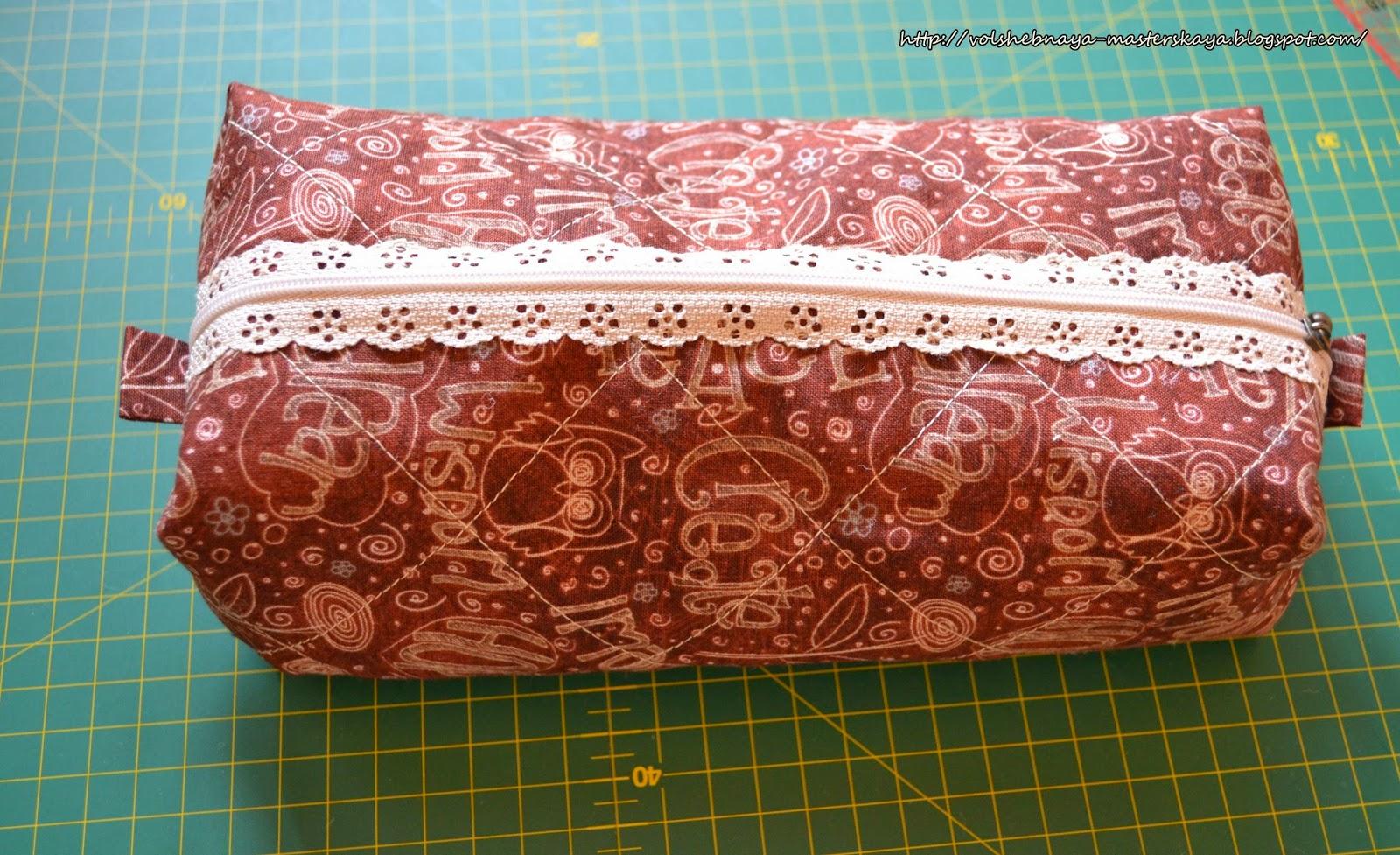 Cosmetic bag with openwork zipper. Tutorial