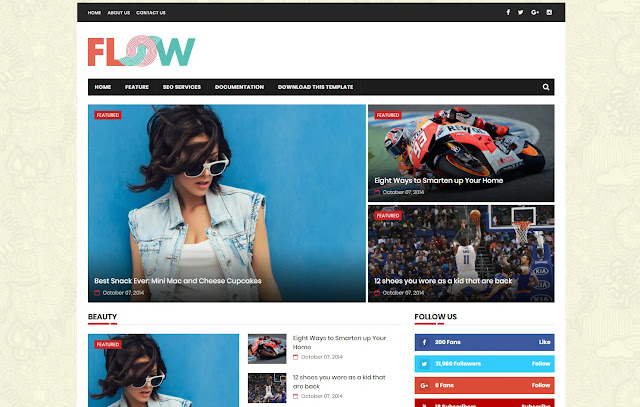 Flow Responsive Magazine Personal Blog News Site Tutorial Tips and Tricks Blogger Template Theme