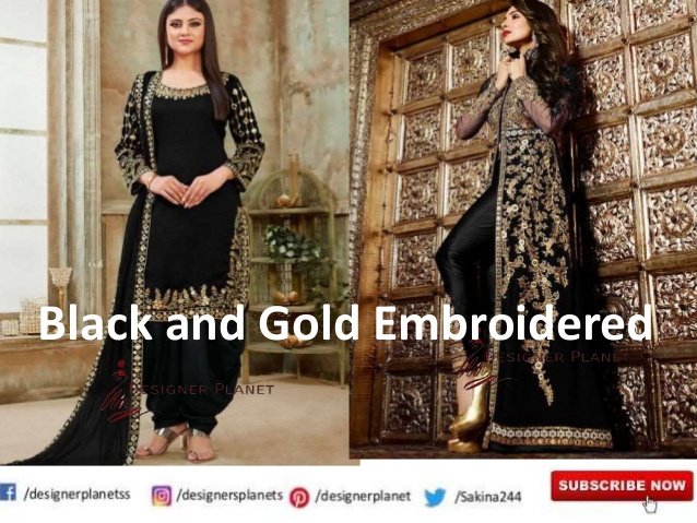 Black Dress with gold embroidery ||Black And Gold Embroidered ||Designerplanet||