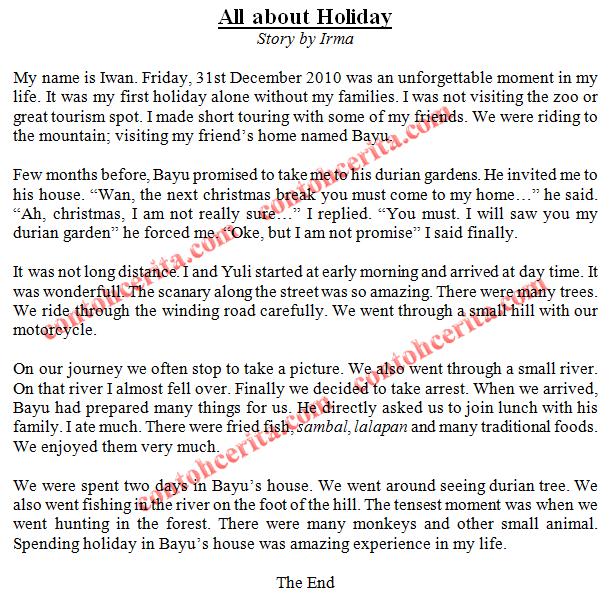 holiday Cerita Bahasa Inggris 5 Paragraf
