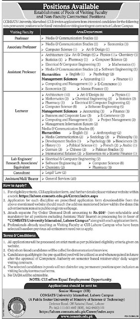 comsats-university-lahore-jobs-2021-application-form