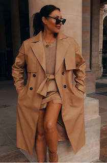 LORNA LUXE CAMEL 'LADY' LEATHER LOOK TRENCH COAT