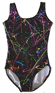 80s neon paint splatter leotard