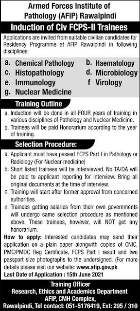 Armed Forces Institute Of Pathology (AFIP) Jobs 2021 Jobs in Pakistan 2021