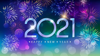 Wallpaper beautiful new year 2021 fireworks