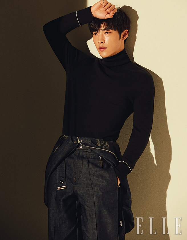 black is woo do hwan s color in a photo shoot for elle