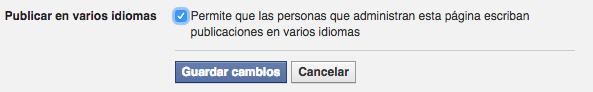 distintos idiomas facebook