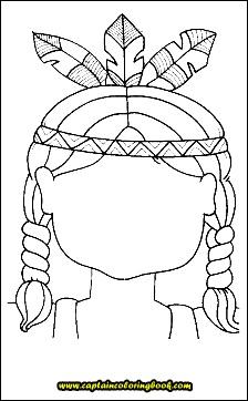 Kids Native American Headdress coloring