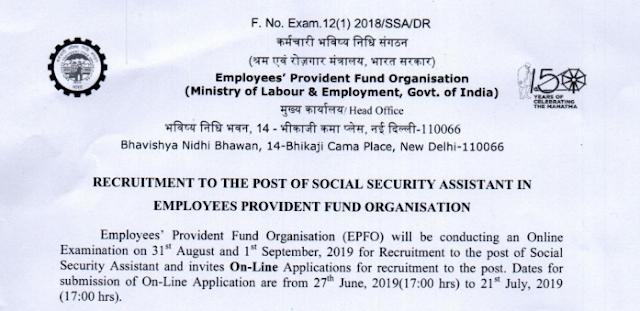 EPFO SSA 2019 Notification
