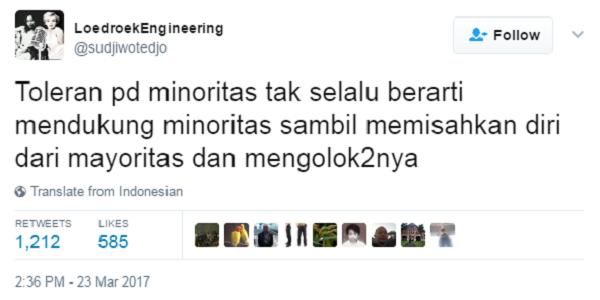 Pedas! Sudjiwo Tedjo: Toleran Pada Minoritas Tak Berarti Mengolok-Olok Mayoritas!