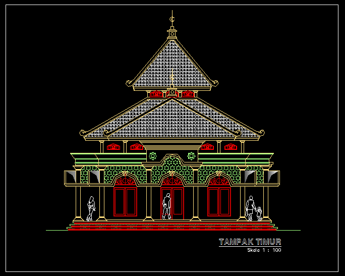 Download Referensi Gambar Kerja Masjid 1 Lantai Dwg Blog Anak Teknik