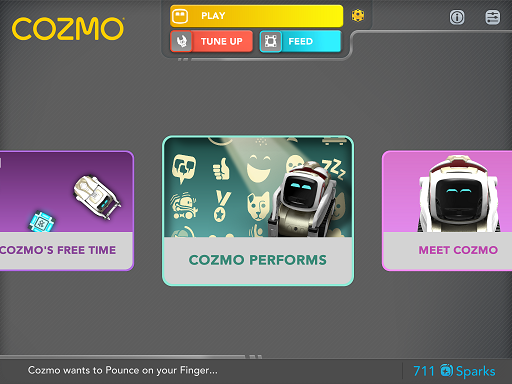 cozmo menu showing performs