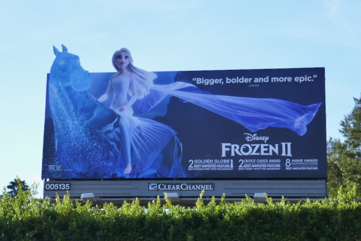 Disney Frozen II Golden Globe nominee billboard