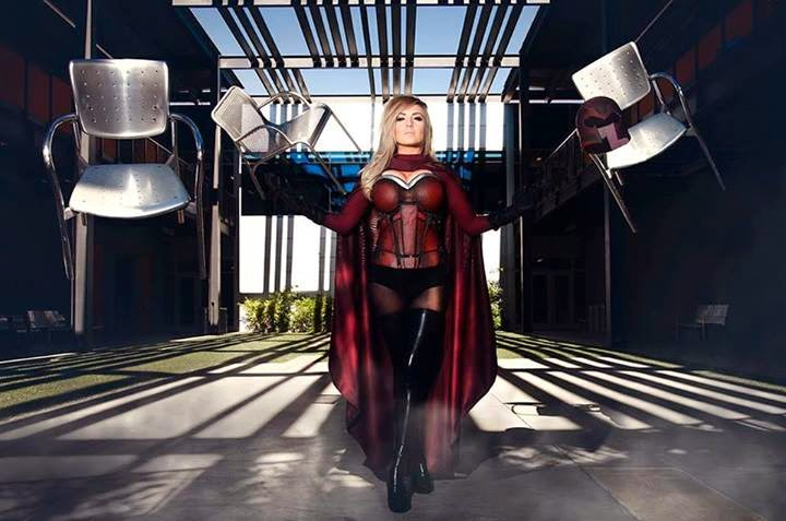 Jessica Nigri cosplay Magneto and photoshop