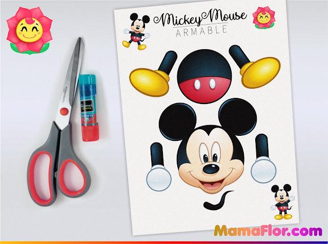 MICKEY MOUSE armable para Imprimir GRATIS | Actividades y tareas