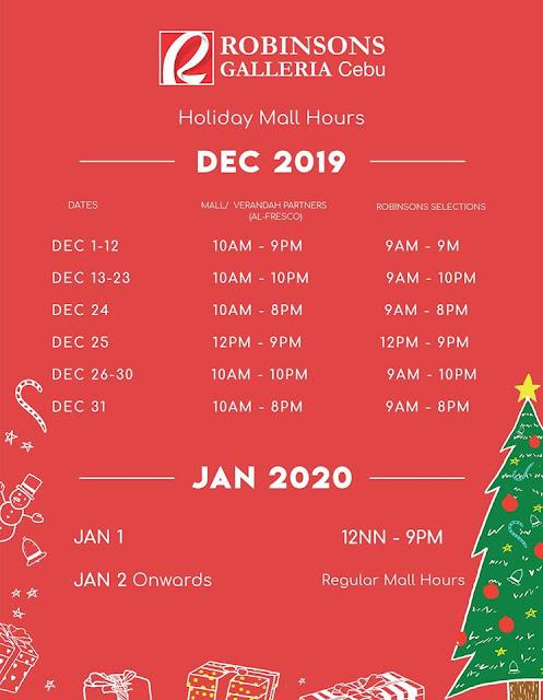 Robinsons Galleria Cebu Mall Hours 2019