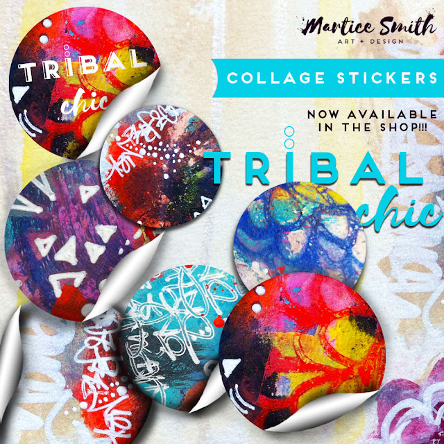 """Tribal Chic"" collection of Collage Stickers from MarticeSmithArt.com"
