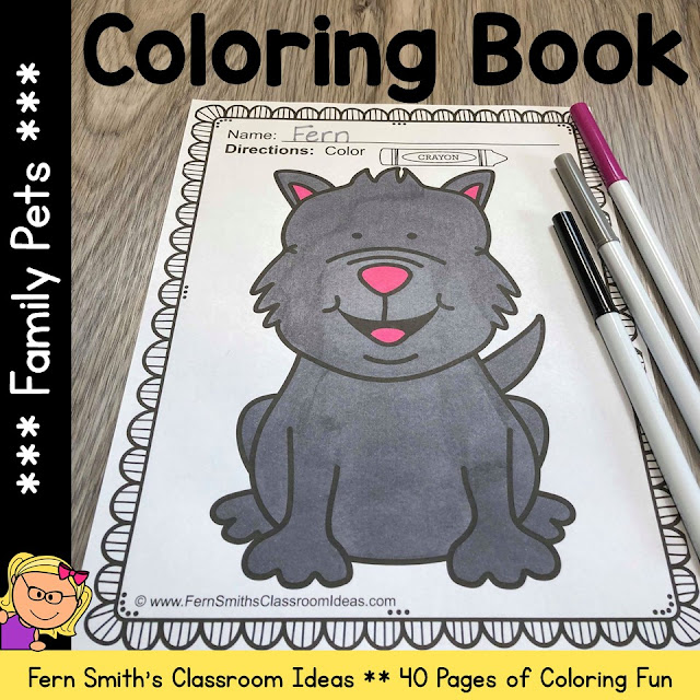 You will LOVE the 40 Family Pets Coloring Pages that come in this Family Pets Coloring Pages Resource! Terrific for a daily coloring page OR have a parent volunteer bind them into a FAMILY PETS COLORING BOOK for your students. Your students will ADORE these Family Pets coloring pages because of the cute, cute, cute Family Pets graphics! Your students can also draw in a Family Pets background and write about their coloring book page on the back. Use these coloring pages for all sorts of jumping off points for older students to use during their Family Pets creative writing lessons! Add it to your plans to compliment any Pets Unit! Download these 40 Family Pets Coloring Book Pages for some INSTANT Family Pets Coloring Joy in your home or classroom!